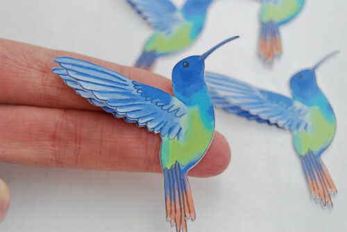 x3 Hummingbird Embellishments Die cuts Cardmaking Scrapbooking planner Emphemera