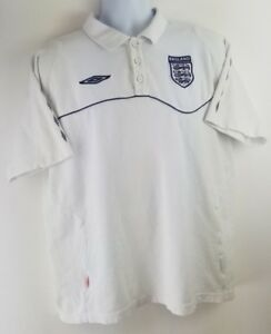 Mens-Umbro-England-White-Polo-Golf-Short-Sleeve-Shirt-Size-XL-Free-Shipping