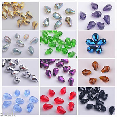50/100X  Faceted Glass Crystal Charms Findings Teardrop Spacer Loose Beads 6/8mm