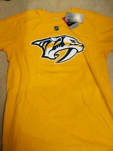 watch 2afb3 9c559 Details about Nashville predators Filip Forsberg Gold textured T-shirt  Reebok Medium