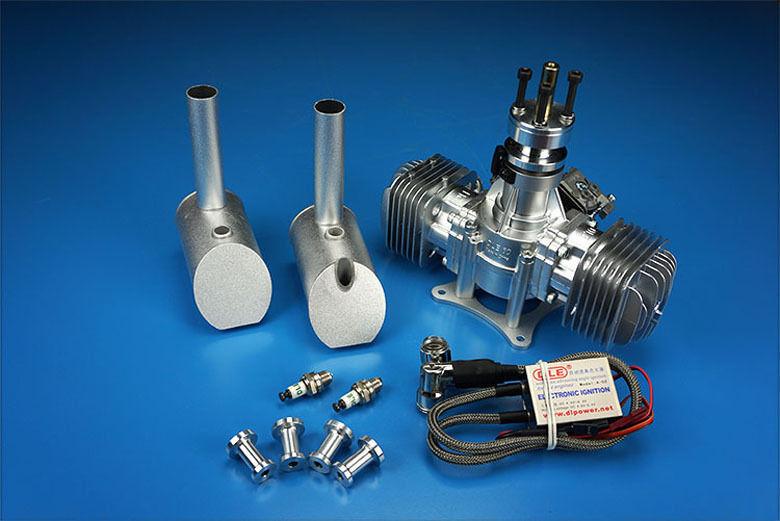 Nuevo Motor DLE-60 Twin Gasolina Lado dle Escape para RC Avión Partes 60cc