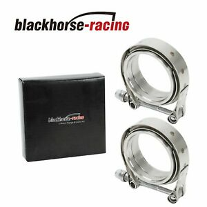 "2 X 2.5"" V-Band Flange & Clamp Kit for Turbo Exhaust Downpipes Stainless Steel"