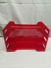 Vintage Eldon Red Stackable Paper File Tray Desk Organizer Usa Mcm Modern