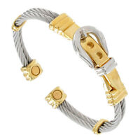 Buckle Gold Silver Tone Twisted Wire Magnetic Cuff Bracelet