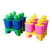 """IKEA ice pop maker 4"""" frozen make 6 popsicle mold blue or pink CHOSIGT kids NEW"""