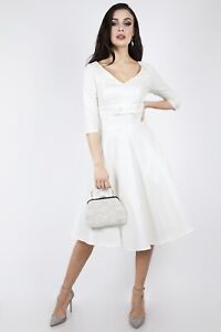 Voodoo-Vixen-Dorothy-Bridal-Flared-Dress-Rockabilly-DRA8334-Wedding-Evening-Bow