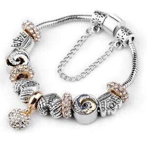 Women/'s Antique Silver Ballerina Beads European Crystal Charm Bracelet Gifts