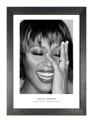 Whitney 8 Houston Black And White Tribute Poster Smiling Singer Music Star Photo