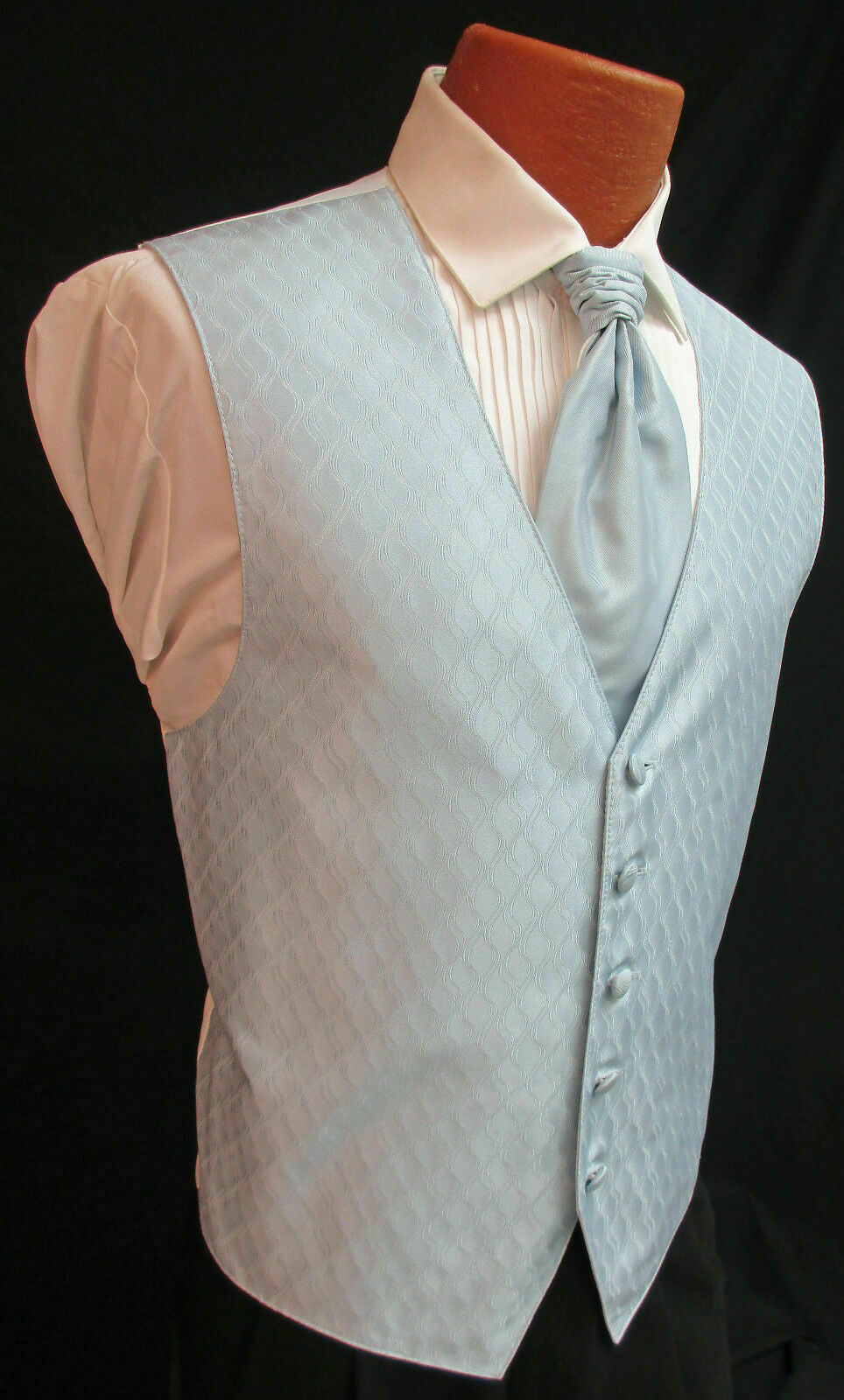 Mens Medium Long Light Blue Spectrum Fullback Tuxedo Vest w Tie & Pocket Square