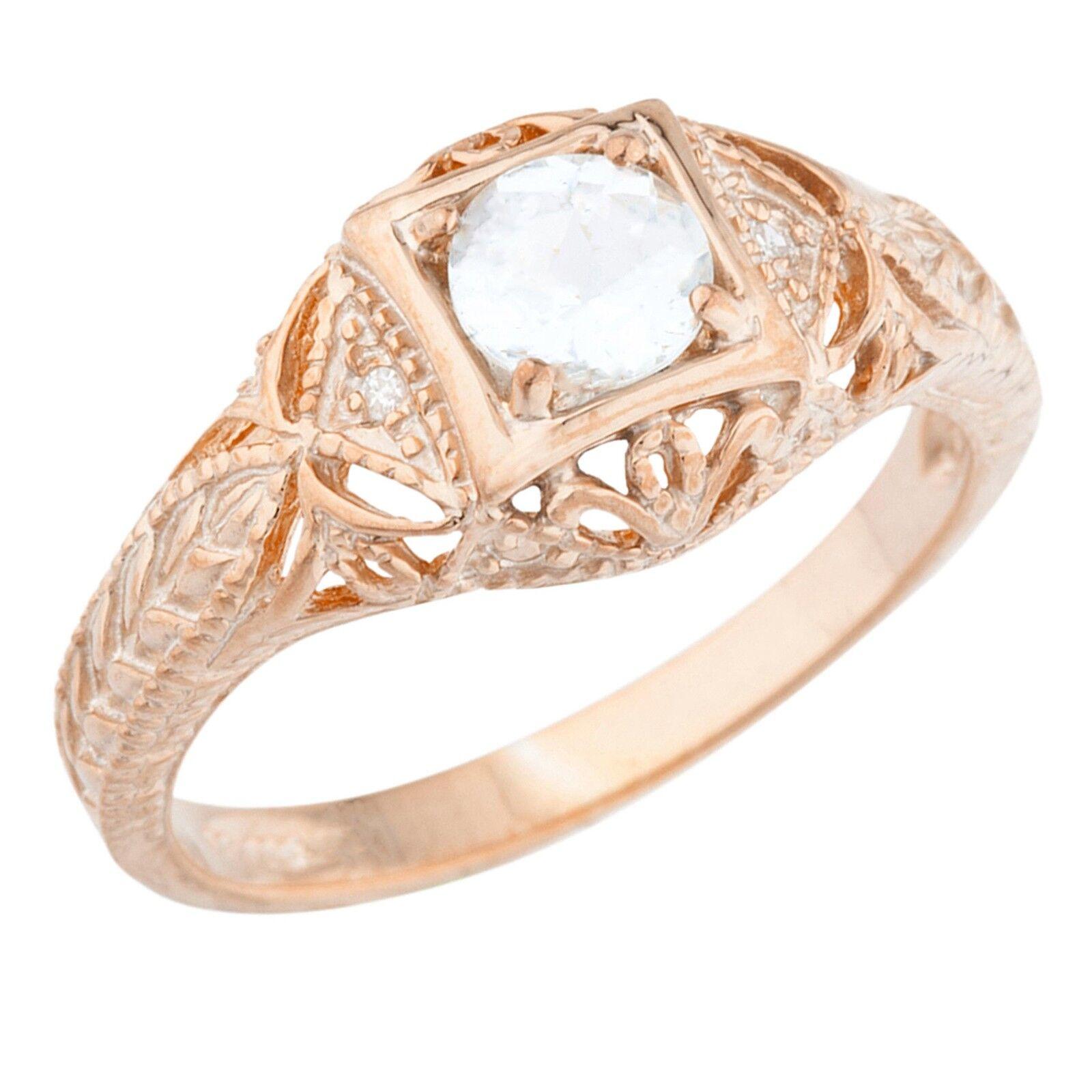 14Kt pink gold Plated Genuine Aquamarine & Diamond Round Ring