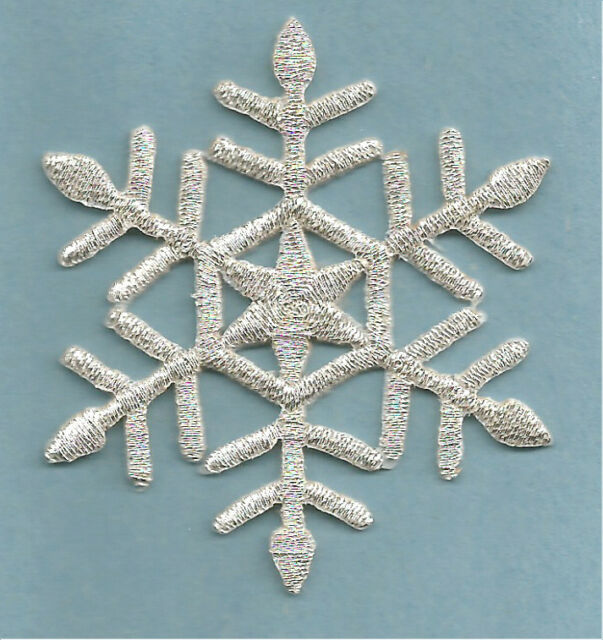 """Snowflake (2.25"""")(5.7cm) Embroidered Silver Metallic Iron On Applique Patch"""