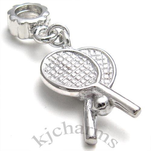 Wholesale 10pcs Tennis Rackets Silver Dangle European Bracelet Charm Beads W#530