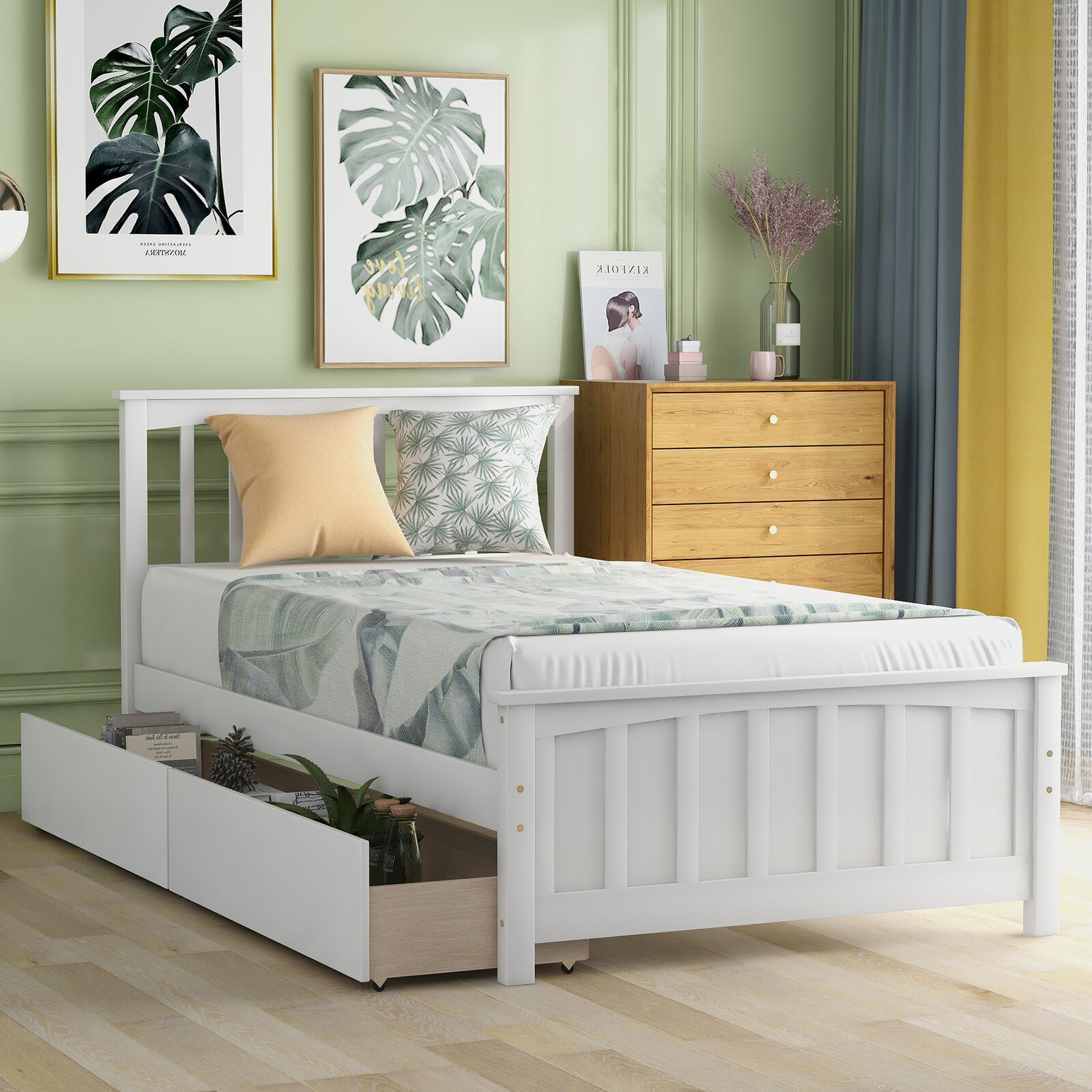 Picture of: Frame Wood Construction Spacious Storage Drawer With Casters Platform Twin Bed For Sale Online Ebay