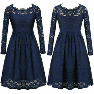 Women-Lace-Sexy-Off-Shoulder-Long-Sleeve-Summer-Evening-Party-Short-Dress