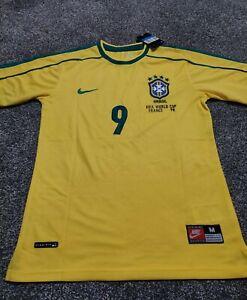 RARE CLASSIC RETRO BRAZIL 1998 WORLD CUP FRANCE 98 SHIRT JERSEY RONALDO 9 MEDIUM