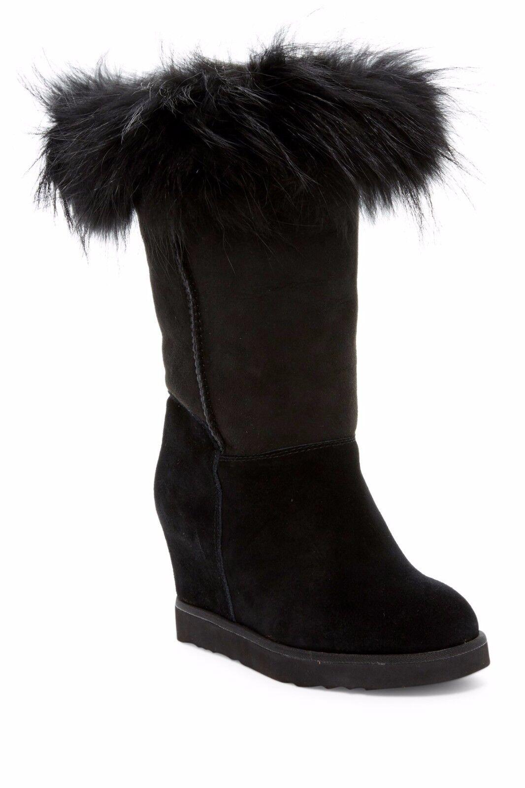 Australia Luxe Collective NIB FOXY Tall Hidden Wedge Fox Fur Boot Black 11 $410