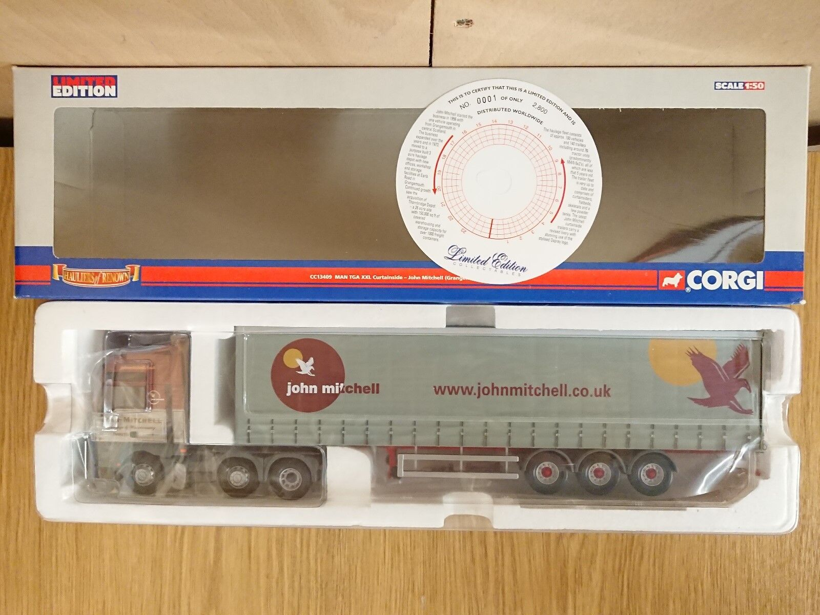 CORGI CC13409 MAN TGA XXL curtainside John Mitchell LTD ED. No 0001 de 2800