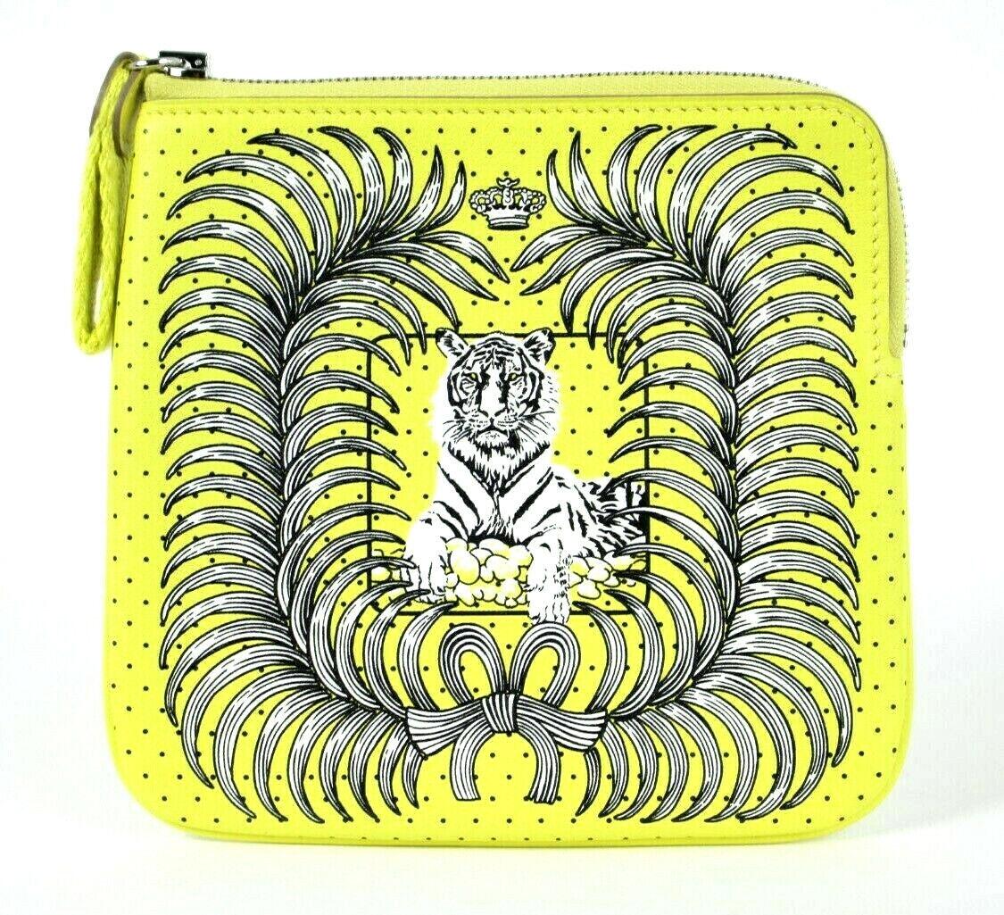 HERMES 2021 NIB Bright Yellow TIGRE ROYAL Swift CARRE Pocket Pouch Bag
