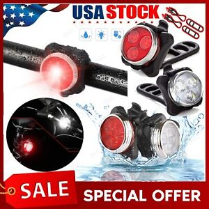 USB Rechargeable LED Bike Front Rear Light Set Headlight Taillight Lamps STOCK