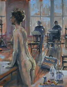 Richard-Blowey-Original-Oil-Painting-Art-Class-With-Nude-Woman-Cornish-Art