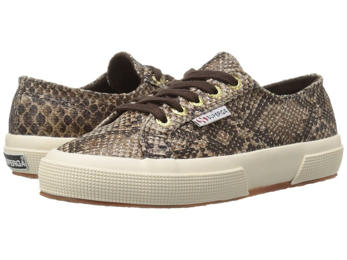 Superga 2750 Brown Cot Snake Print Lace Up Sneaker shoes Sz 7 NWT S0080CD
