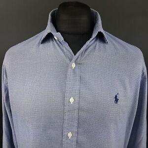 Polo-Ralph-Lauren-Mens-Shirt-16-40-41-LARGE-Long-Sleeve-Blue-Regular-Fit-Check