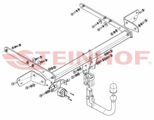 7-pin KIT EL specifici. FORD Mondeo 4//5 PORTE 2014-Gancio Traino Rimovibile verticale