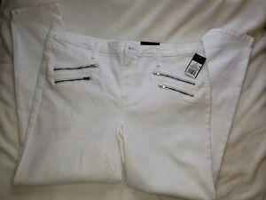 b719f77b7 MOSSIMO Women s High Rise Zipper Pocket Skinny Jeans 18 White (B)