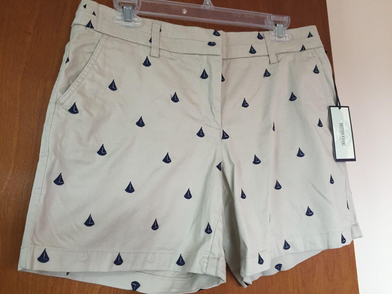 New British Khaki Shorts Cotton Spandex Light Brown Navy bluee Flat Size 8,