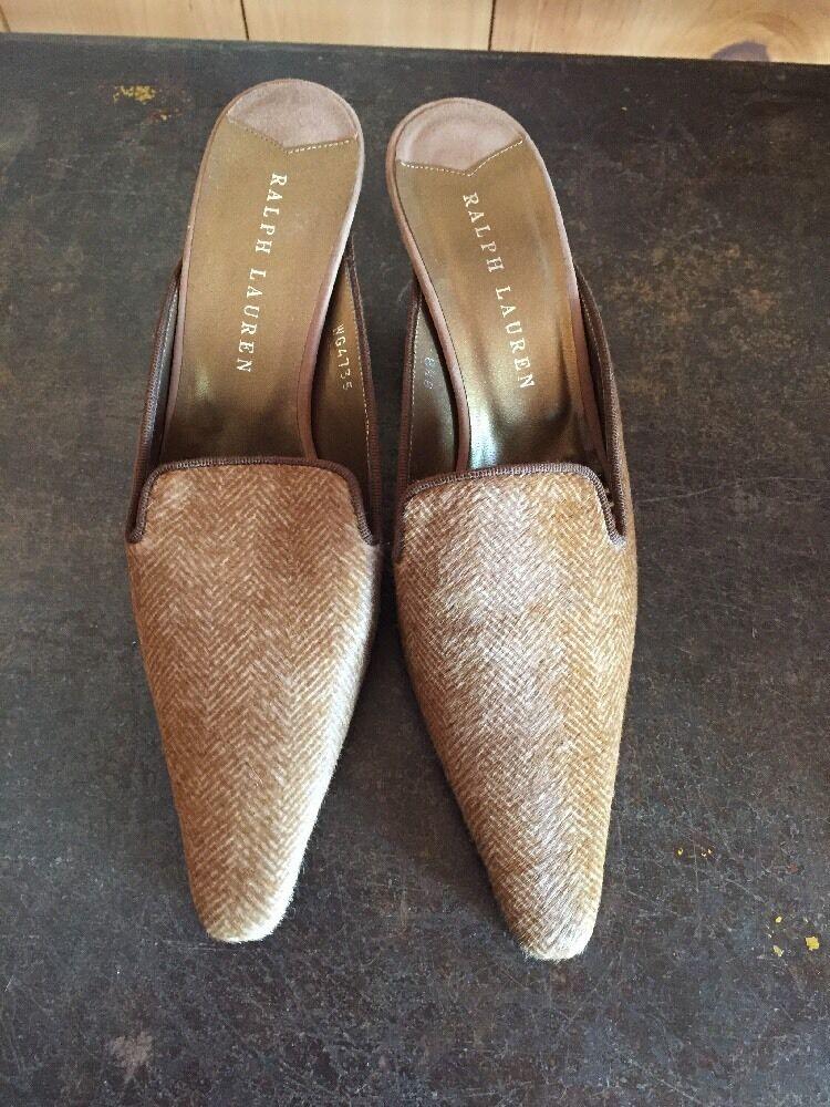 offerta speciale RALPH LAUREN viola viola viola Label HERRINGBONE fur Pattern LEATHER MULES heels NIB  presa di fabbrica