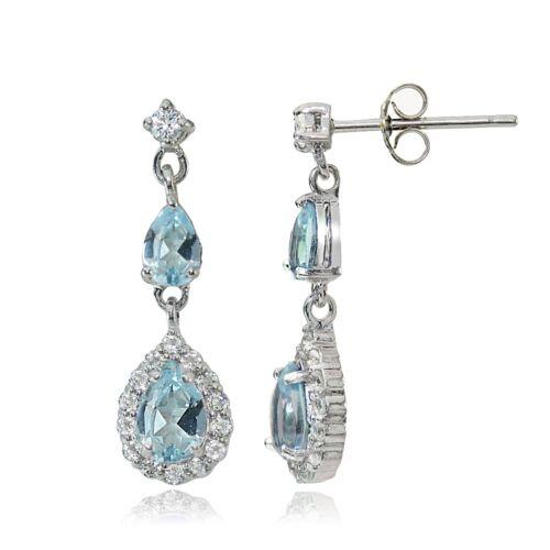 Sterling Silver Blue /& White Topaz Fashion Teardrop Earrings
