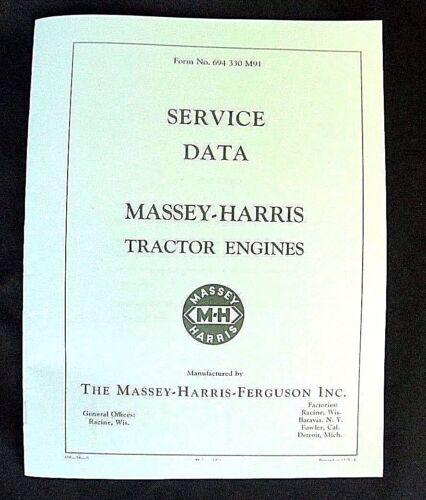 Massey Harris Tractor Engine Service Data Manual 21 22 23 30 33 44 55 Specs MH