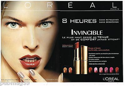 Cosmétique L'oréal Avec Milla Jovovich To Be Distributed All Over The World Aspiring Publicité Advertising 2002 2 Pages