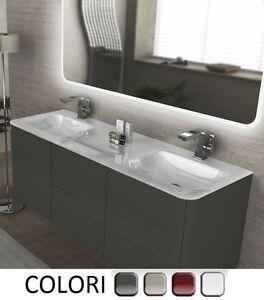 Mobile bagno sospeso da 140 cm 4 colori doppio lavabo cristallo bianco mobili 3 ebay - Mobile bagno sospeso 140 cm ...