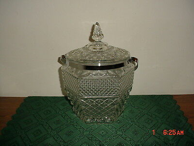"2-PIECE ANCHOR HOCKING ""WEXFORD"" 10 1/2"" GLASS ICE BUCKET/VINTAGE/CLEARANCE!"