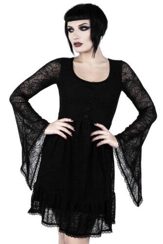 Killstar Minikleid Casket Cutie-Gothic-Spinnennetz-schwarz-Netz
