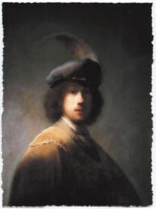 REMBRANDT VAN RIJN SELF PORTRAIT BERET LIMITED EDITION ART PRINT 18x24 painting