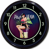 Pin Up Pina Colada Cocktail Lady Wall Clock Pineapple Alcohol Tropical Drink