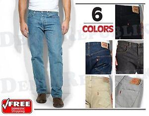 LEVIS-501-ORIGINAL-JEANS-MENS-Levi-039-s-Button-Fly-Straight-Leg-Black-Blue-GreyNWT