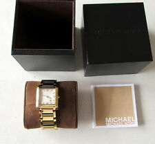 NEW Michael Kors Womens Mother Of Pearl Dial Gold-Tone Square Watch 30mm MK3147