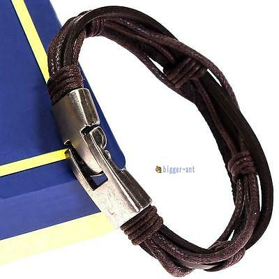100% New Fashion Men's Men Titanium Steel Buckle Leather Bracelet Wrap Around BI