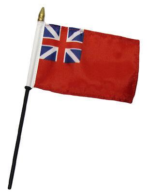 """British Red Ensign UK 4/""""x6/"""" Flag Desk Table Set WOODEN Stick Staff"""