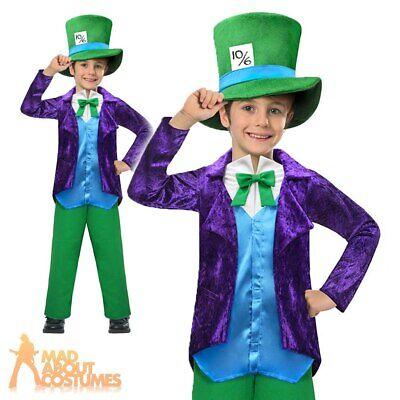 Boys Mad Hatter Costume World Book Week Day Fancy Dress Kids 5 6 7 8 Top