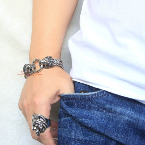 argent Lion Head Franco Gourmette en Homme Rocker Bracelet Vintage en acier inoxydable