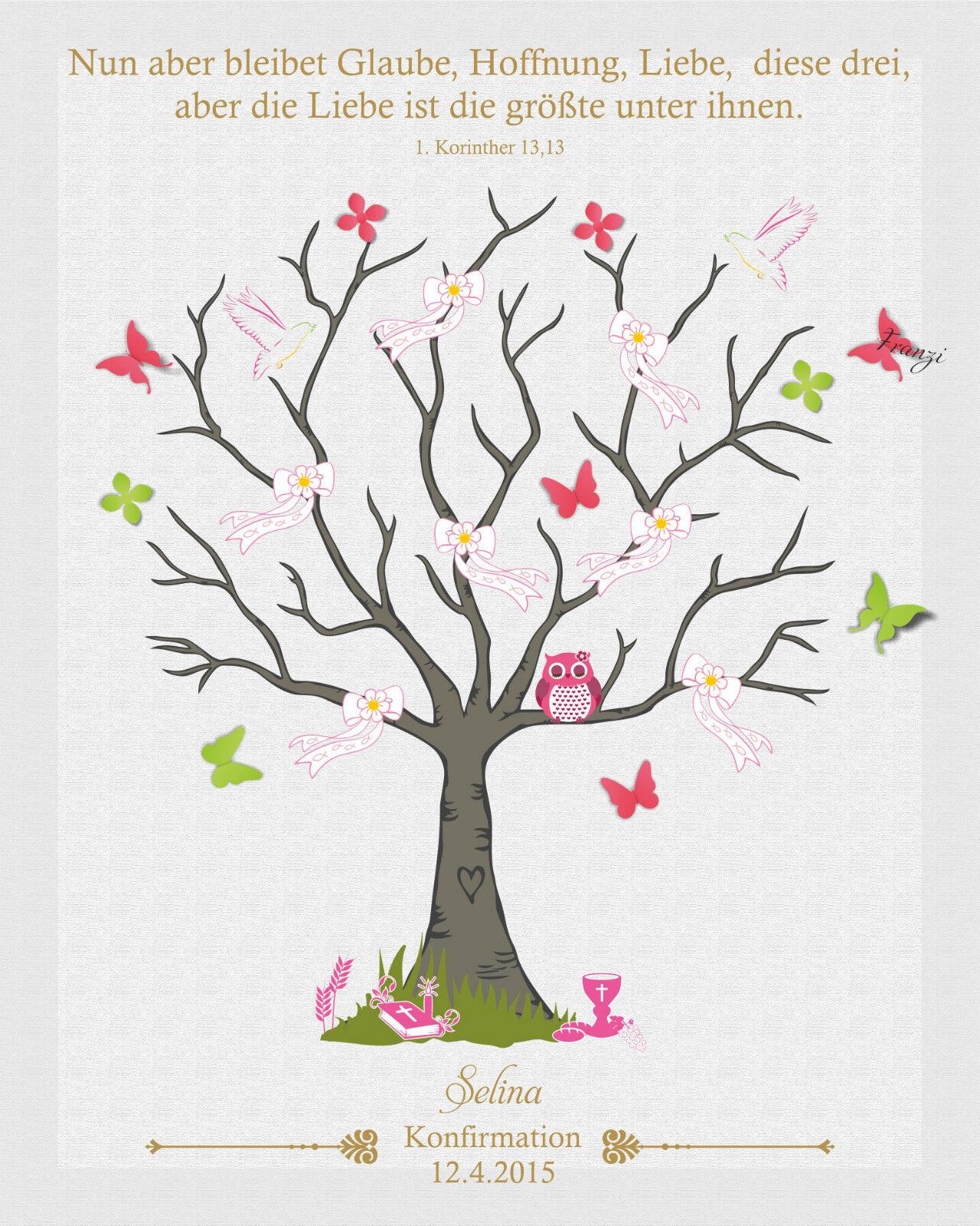 Empreinte toile communion arbre papillon incl. tampons encreurs