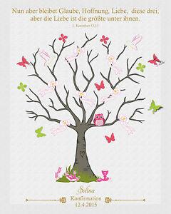 Fingerabdruck Leinwand Konfirmation Baum Schmetterling Inkl