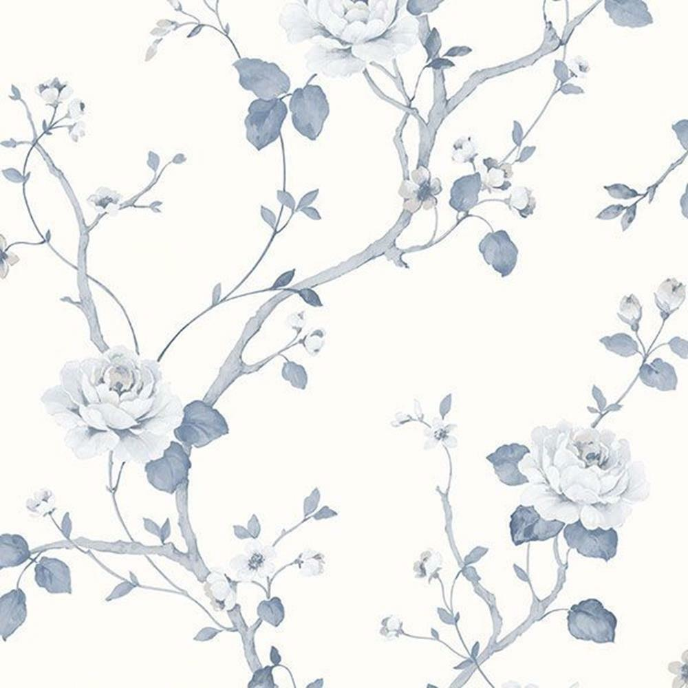 G67600 Palazzo Floral Blue White Galerie Wallpaper For Sale