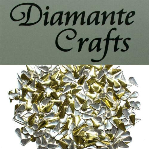 250 Silver or Gold Metal Studs Square Star Heart Teardrop  Craft Embellishment