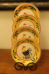 Image is loading Philippe-Richard-Country-View-Rooster-Hand-Painted-Salad- & Philippe Richard Country View Rooster Hand Painted Salad Plates Set ...