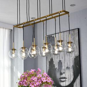 Modern Brass Linear Chandelier Island Pendant Lamp Glass Globe Led Ceiling Light Ebay